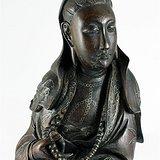 清中期 硬木 雕 镶银丝 观音