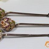 全手工打造 奢华 银胎 花卉 昆虫 珐琅勺 3支