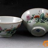 (压轴) 清乾隆 粉彩 花卉纹 折腰 大碗 (一对),19.5厘米。