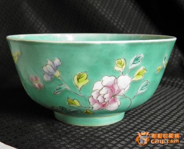 少有品种-清湖绿花卉碗,图1