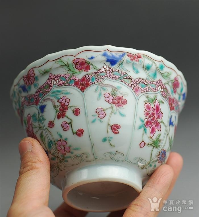 清三代 粉彩 花卉纹 菱口杯图6
