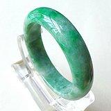 缅甸天然A货翡翠~满绿宽边手镯一元拍