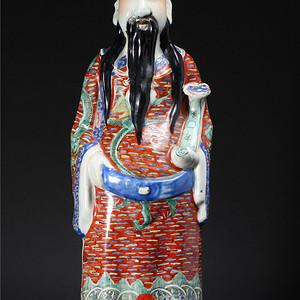 民国・粉彩财神瓷塑像