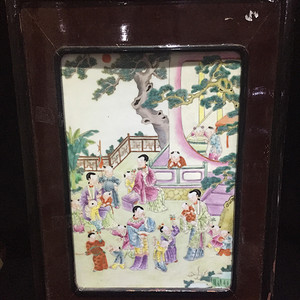 民国 粉彩仕女婴戏纹瓷板