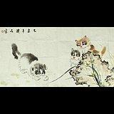 著名国画家璞石本人真迹横幅猫图