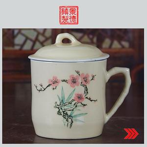 景德镇文革老厂瓷器/精品收藏/建国瓷厂釉把子花卉图茶杯