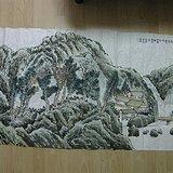 山水画作。王梦湖作品,138 69厘米