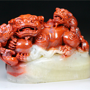 【珍品收藏】顶级寿山坤银洞杜陵大钮章(三狮戏珠)