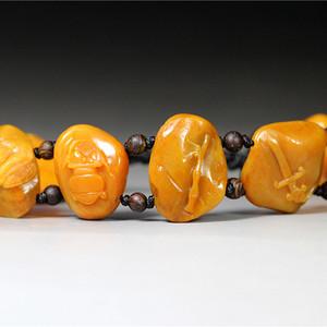 【田黄手链】 珍品37.5克福建寿山田黄石《八宝神器》手链