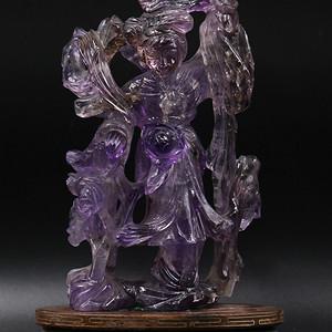 天然老紫水晶雕刻仕女摆件