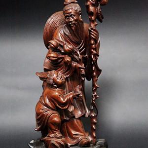 晚清黄杨木雕东方塑像