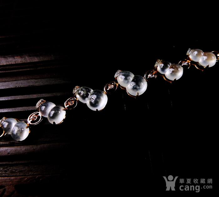 【压轴】木那珍品!18K金镶5钻石玻璃种A货翡翠木那飘雪富贵葫芦手链