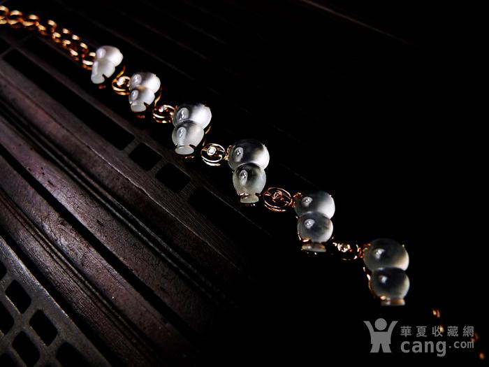 【压轴】木那珍品!18K金镶5钻石玻璃种A货翡翠木那飘雪富贵葫芦手链图2