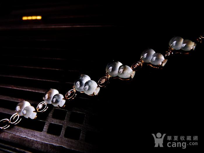 【压轴】木那珍品!18K金镶5钻石玻璃种A货翡翠木那飘雪富贵葫芦手链图3