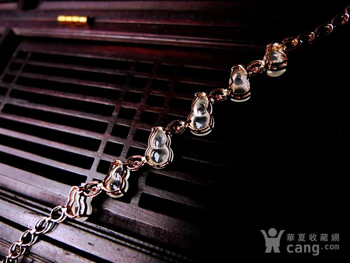 【压轴】木那珍品!18K金镶5钻石玻璃种A货翡翠木那飘雪富贵葫芦手链图4