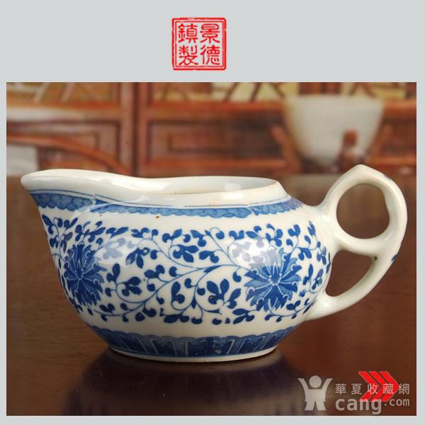 景德镇文革老厂瓷器/包老保真/出口瓷--青花玲花卉奶杯 公道杯图1