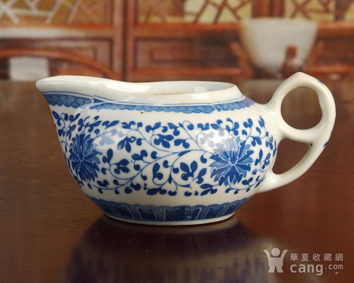 景德镇文革老厂瓷器/包老保真/出口瓷--青花玲花卉奶杯 公道杯图2