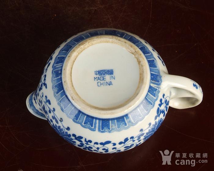 景德镇文革老厂瓷器/包老保真/出口瓷--青花玲花卉奶杯 公道杯图7