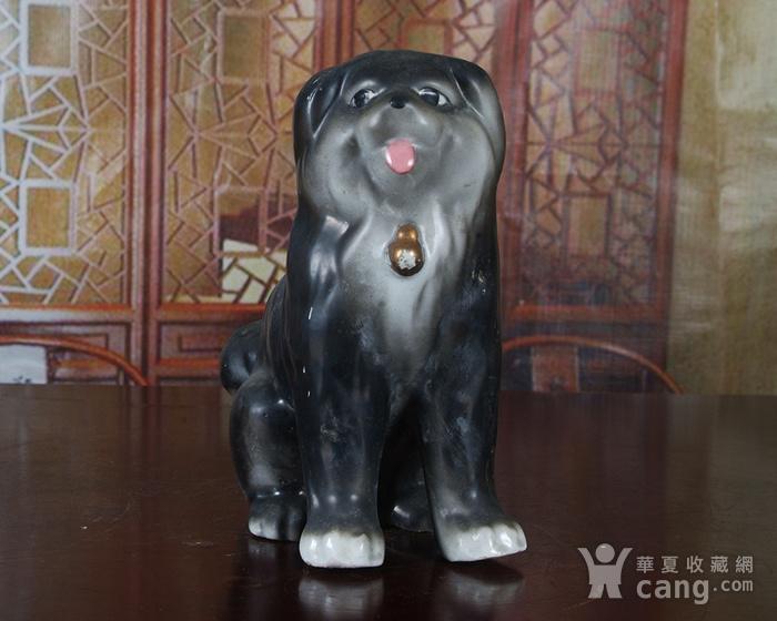 景德镇文革老厂瓷 精品收藏 雕塑瓷厂粉彩雕塑《狗》图2