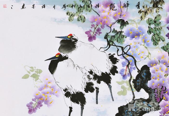 国画紫藤丹顶鹤