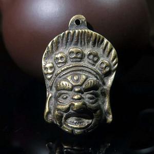 老铜黄财神头像挂件
