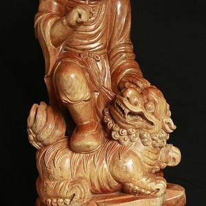 高61厘米重22斤半 楠木上清漆 纯手工雕 立体圆雕 伏虎罗汉 大型老