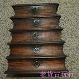 清中期酸枝木竹纹盒