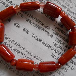 南红筒珠手链