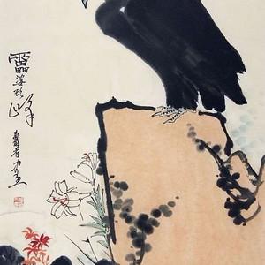保真手绘名家潘天寿先生花鸟画立轴精品佳作!