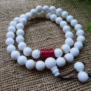 【精美】高品质 天然白砗磲朱砂手链