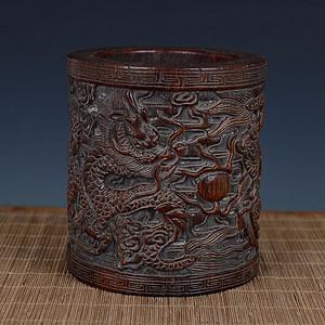 -【珍玩】---老木雕 双龙戏珠纹 笔筒