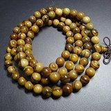 108颗印尼加里曼丹天然虎皮纹沉香木佛珠手链