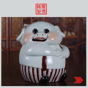 景德镇文革老厂瓷器/精品收藏/雕塑瓷厂精品雕塑--小猪储钱罐