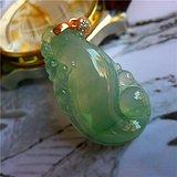 新年礼物 自然光拍照精品缅甸翡翠A货冰种如意龙珠吊坠送证书B018