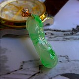 新年礼物 自然光拍照缅甸翡翠A货阳绿福瓜吊坠送证书B033