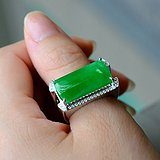 18k金豪华拌钻镶嵌满绿翡翠戒指吊坠送证书