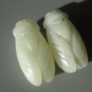 晚清 和田玉白玉 双面雕刻 知了 对珠