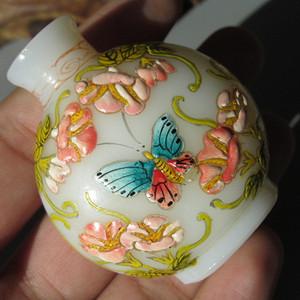 【回流】琉璃 突出添彩画花 鼻烟壶 手工绘制 包浆老厚