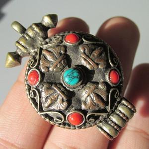藏教 铜鎏银 嘎乌盒  镶嵌 手工打造 包浆老厚