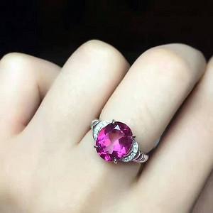 天然粉托帕石戒指