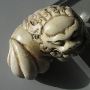 珍贵 手工雕刻 狮子舞绣球 把件 包浆老厚