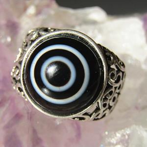 天然单眼 玛瑙 镶嵌银托 戒指