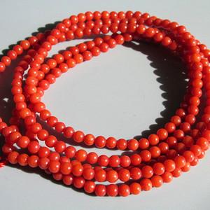 天然 红珊瑚 216粒 链