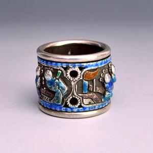 纯银精品浮雕童嬉图扳指收藏品