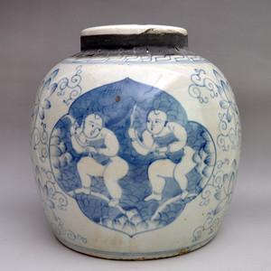 瓷器精品和合二仙普洱茶叶罐