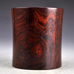 红木精品云纹笔筒收藏品