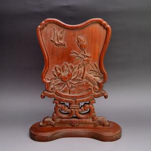花梨木精品浮雕花鸟屏风收藏品