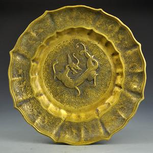 黄铜精品浮雕缠枝莲貔貅盘收藏