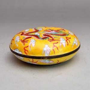 黄铜精品景泰蓝盘龙盒收藏品