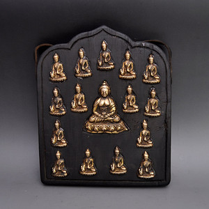 黄铜精品木胎藏佛神龛收藏品